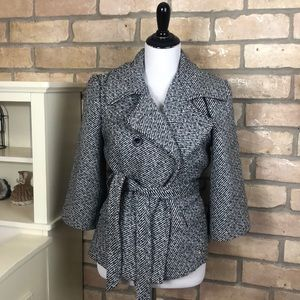 Black and white coat with belt